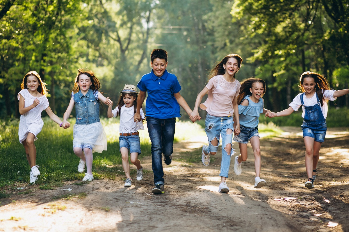 Group of children in park